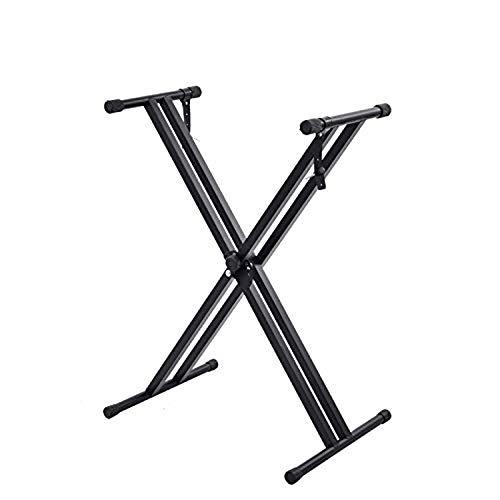 BQKOZFIN キーボードスタンド X型 Keyboard Stand ダブルレッグ 折りたたみ 7段階 高さ30~96cmに調整 電子キーボード用 54/61/73/76/88鍵 ボード適用 電子ピアノスタンド ブラック