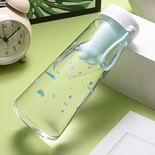 Botella de agua deportiva de 550 ml con filtro de té de plástico Kawaii Cherry Blossoms portátil a prueba de fugas para niña | Botellas de agua