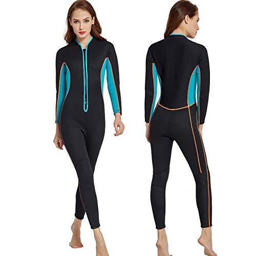 Traje de Neopreno para Hombre y Mujer, 3mm Invierno De Una Pieza Traje de Buceo de Surf Ultra Elástico De Completo Wetsuit con Cremallera Frontal,Women-M