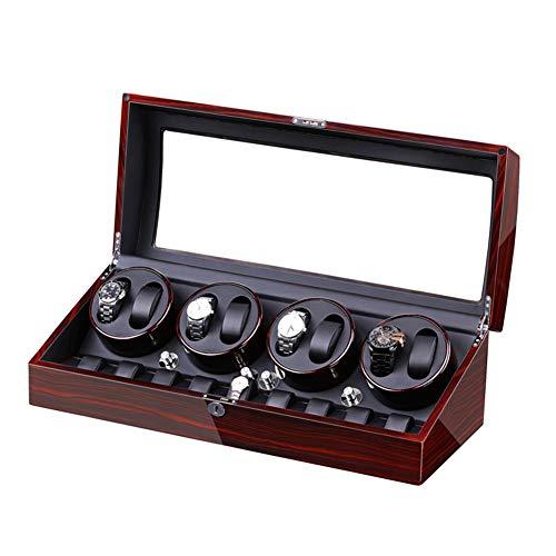 Jlxl Enrollador Reloj Automático Caja para 8 Relojes + 9 Almacenamiento Motor Silencioso Ligero Gran Capacidad Exterior Pintura Piano Concha Madera Accesorios (Color : B)
