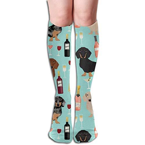 xinfub Unisex Socken mit Dackel-Motiv, weinrot und schnörkelförmig, blau, bequem, für sportliche Aktivitäten, für Flugreisen, bequeme Socken