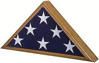 SpartaCraft Vintage Oak Veteran Military Retirement Memorial American Flag Case Made in America.