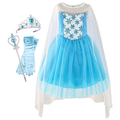 Sunboree Mädchen Kleid Schnee Königin Prinzessin Ankleiden Zubehör Krone Zauberstab Gr. 92