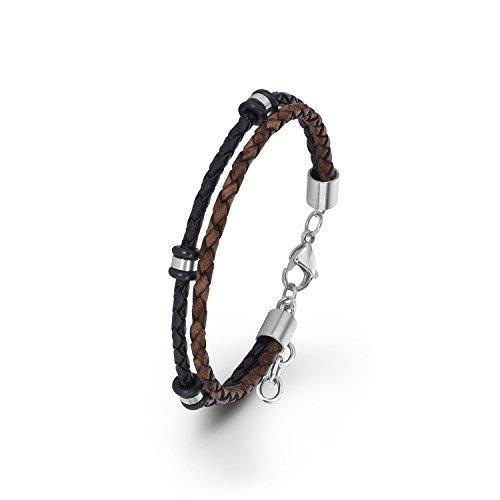 s.Oliver Herren-Armband mehrreihig verstellbar Edelstahl Leder 22 cm - 566728