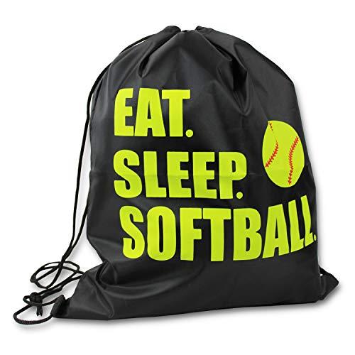 Eat Sleep Softball Drawstring Tote