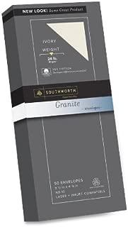 Southworth Fine Granite Envelopes, Size 10, Ivory, 50 Count (P934-10L/3/18)