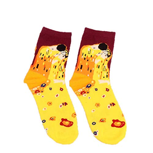YZLSM 1Pair berühmte Ölgemälde Socken lustige Baumwollsocken-Kunst ästhetische Socken Bunte Westen abstrakte Malerei Socken für Erwachsene Frauen, Kuss