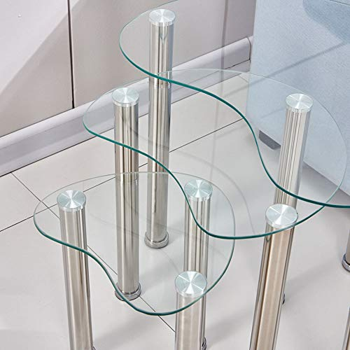 HomeSailing 3 Side End Tables Nest Of Table Glass Top Legs Metal Rectangular For Small Space Living Room Coffee Bedroom Sofa Nesting of 3 (Transparent C)