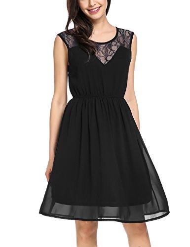 Zeagoo Damen Chiffonkleid Sommerkleider Elegant Party Cocktailkleid Abendkleid Spitzen Kleid Ärmellos A Linie Schwarz L