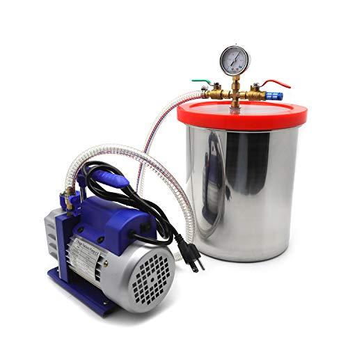 HTTMT- 3 Gallon Vacuum Chamber Degassing Silicone Set 3CFM Pump Single Stage 1/4HP Kit [P/N: ET-TOOL009-RAW]