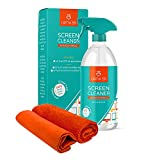 Screen Cleaner Spray Kit | 16oz Large Bottle TV Screen Cleaner Spray + 2 (15x15) Microfiber Cleaning Cloth for Computer Screen Monitor, LED LCD TV, Tablet, Phone, Laptop, Electronic Devices Cleaner