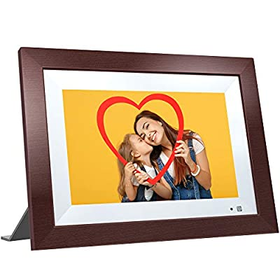 VANKYO WiFi Digital Photo Frame, 10.1 inch Touch Screen, 1920X1200 Full HD IPS Display, Motion Sensor, Instant Share Pictures and Videos via App, Email, Cloud, Auto-Rotate, 16GB Storage, Wood