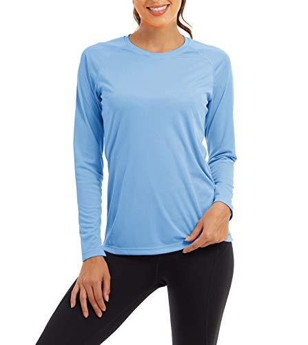 KEFITEVD Damen UV Shirt Surfen Segeln Sonnenschutz Outdoorshirt Atmungsaktiv Wandershirt Rundhals Langarm Sommer T-Shirt Angeln Trekking Blau L