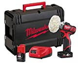 Milwaukee 4933447799 – M12BPS-421 X Meuleuse/Ponceuse 2 vitesses (2.500/7.500 RPM), Cap Max 76 mm, 1 Bat 4.0 Ah et 1 Bat 2.0 Ah