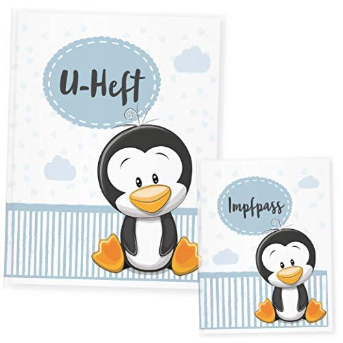 Funda para cuaderno de animales, funda para cuaderno y cartilla de vacunación, regalo ideal para nacimiento azul pingüino Talla:Uheft Set