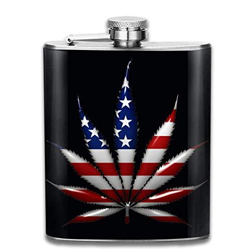 Marihuana USA Stainl Stahl Flachmann, Whisky Flachmann 7oz, personalisierte Flasche Groomsmen Geschenke