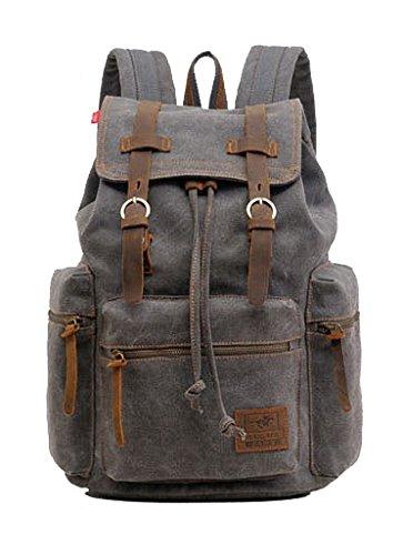 DAYAN Toile Vintage cuir sac à dos Casual Satchel bag backpack de randonnée School femme homme couleur Gris