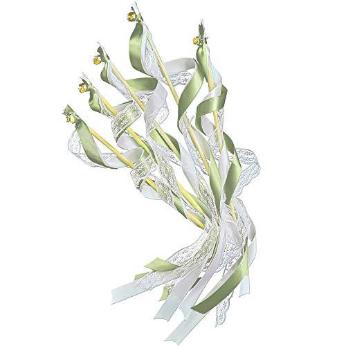EinsSein 20x Wedding Wands Romantic olivgrün grün Spalier Hochzeit Glücksstäbe Stäbe Spitze rund Kirche runde Holzstäbe Glöckchen Konfetti Standesamt Holz