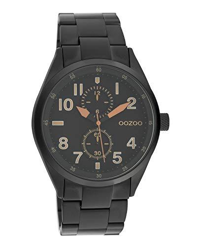 Oozoo C10635 - Orologio da polso unisex con cinturino in acciaio INOX, 42 mm, colore: Nero