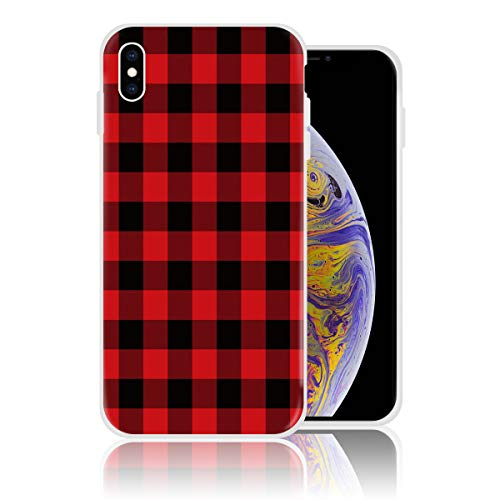 Silicone Case for iPhone Xs Max, Red Black Buffalo Check Plaids Christmas Personalized Design Printed Phone Case Shockproof Full Body Protection Anti-Scratch Drop Protection Cover