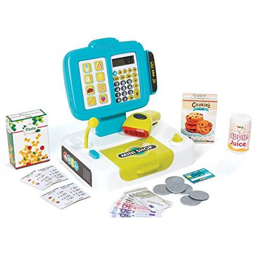 Smoby - Petite Caisse Enregistreuse - 27 Accessoires - Vraie Calculatrice + Scanner Son et Lumière - 350104