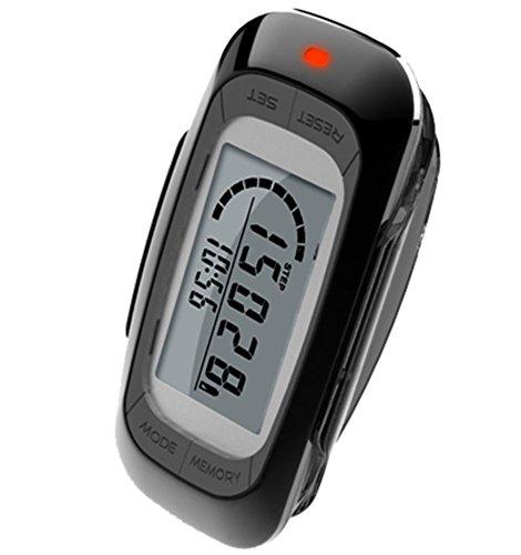 MAYMOC Multifunktions-3D-Schrittzähler mit Clip und Strap - Präzise Schrittzähler, Entfernung Meilen und Km, Kalorienzähler 7 Tage Speicher tägliche Ziel Fortschritt Monitor