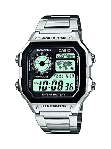 Casio Men's Classic Stainless Steel Japanese-Quartz Stainless-Steel Strap, Silver, 21 Casual Watch (Model: AE1200WHD-1A)
