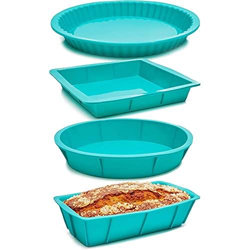 Silicone Baking Pans, Teal Cake Pan (4 Pack)