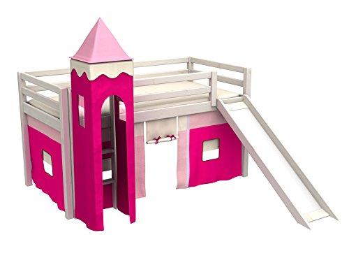 Cama de juego,cama para niños,de alta,cama con tobogan,torre,cortinas,colchón,muchos colores