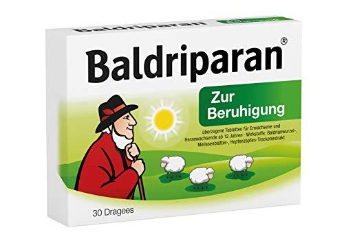Baldriparan Zur Beruhigung – Pflanzliches Arzneimittel mit Baldrianwurzel-Trockenextrakt – Bewährte Dragees bei Unruhezuständen und nervös bedingten Einschlafstörungen – 30 St.