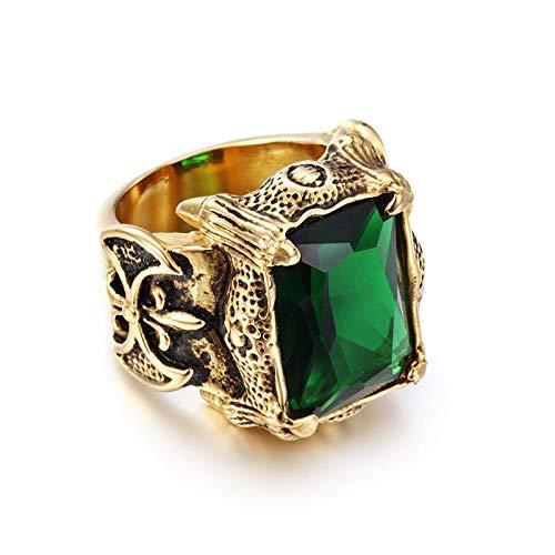 LIDAYE Anillo de Hombre Anillo de Acero Inoxidable de Color Dorado Verde Morado Claro Rojo Piedra Anillo Grande Tamaño 8 9 10 11 12 13 13 Verde