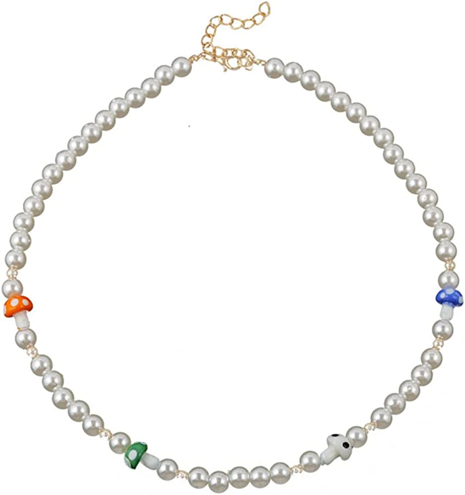Pearl Choker Necklace for Women Colorful Beaded Choker Necklace Bohemian Pearls Beads Chokers