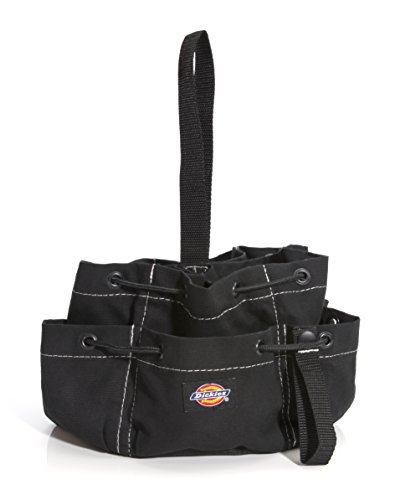 Dickies 12-Pocket Drawstring Work/Tool Bag, Heavy-Duty Drawstrings for Quick-Closure, Snap-Secured Tape Strap, Durable Canvas Construction, Black