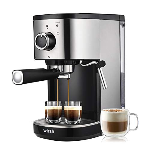 Wirsh Espresso Machine, 15 Bar Espresso Maker with Milk Frother for Espresso, Latte and Cappuccino, Professional Coffee Maker with 42 oz removable water tank, Stainless Steel