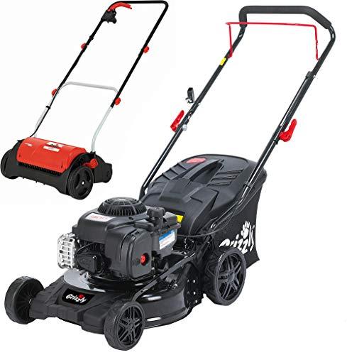 Grizzly Tools Rasenmäher Set besteht aus Benzinrasenmäher mit Briggs & Stratton Motor, 42 cm Schnittbreite und Elektro Vertikutierer mit 1200 Watt leistung und 31 cm Arbeitsbreite