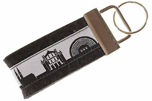 Bielefeld Schlüsselband Mini aus Filz | Skyline Bielefeld in schwarz-Weiss | Geschenk für Damen und Herren | Filz 100% Wolle (Merinowolle)