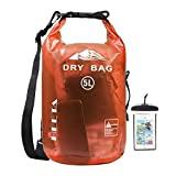 HEETA Waterproof Dry Bag for Women Men, Roll Top Lightweight Dry Storage Bag Backpack with Phone Case for Travel, Swimming, Boating, Kayaking, Camping and Beach, Transparent Orange 10L