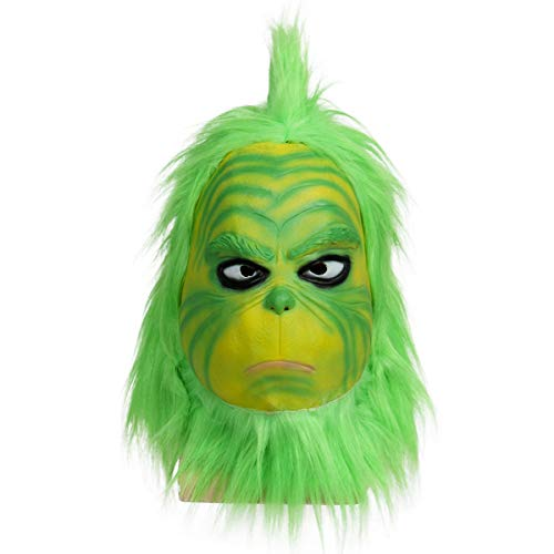 Christmas Santa Mask Green Halloween Costume Full Face Head Furry Latex Mask Adult Fancy Dress Party Props