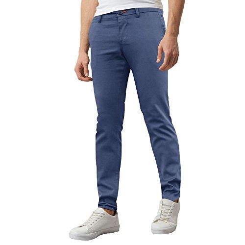 WestAce Pantalones ajustados de chino elástico para hombre, estilo informal Azul claro. 28W/32L