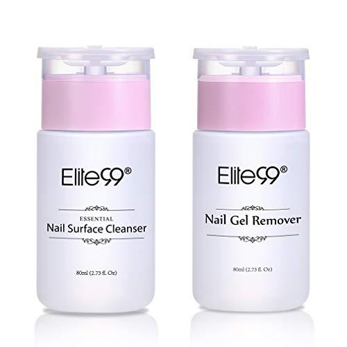 Elite99 Nagellackentferner & Nagelentfetter, Nail Cleaner und Remover für Gellack Nagellack UV LED, Cleaner Nägel und Remover für Elite99 Gellack, 2Pumpflasche 80ml