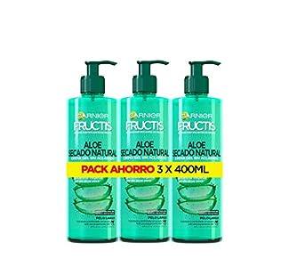Garnier Fructis - Aloe Secado Natural, Gel Crema sin Aclarado, Pelo Normal, Largo, P ack de 3 X 400 ml