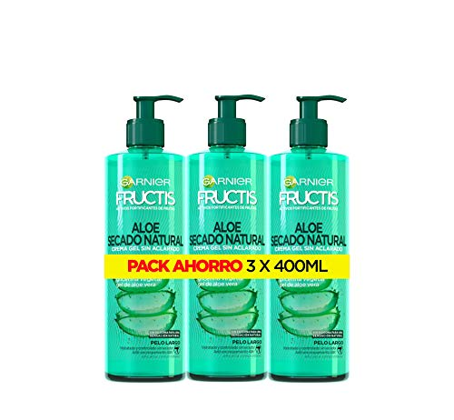 Garnier Fructis - Aloe Secado Natural, Gel Crema sin Aclarado, Pelo Normal, Largo, P ack de 3 X 400 ml
