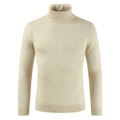 Sweater Men Slim Fit Finely Knitted Elegant Turtleneck Sweater Spring, Autumn and Winter Light Sports Sweater Comfortable Leisure Sweater College Style Young Men Sweater A-Beige L