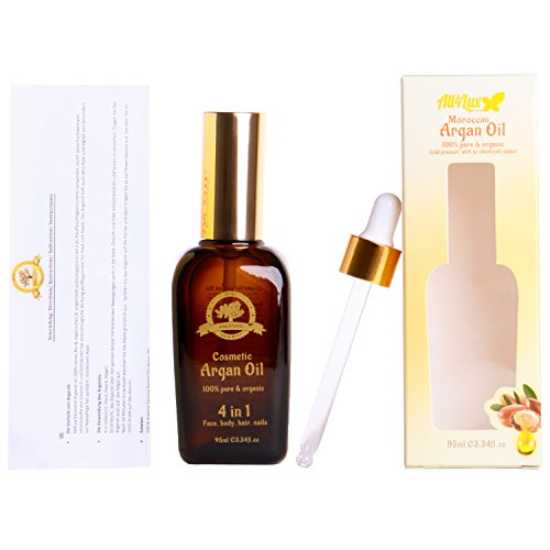 All4Lux Huile d'Argan / Huile D'Argan 100% BIO & Artisanale du Maroc, Pressée à Froid et certifié par BAV Institute for Hygiene and Quality Assurance, Huile d'haute qualité (95ml)