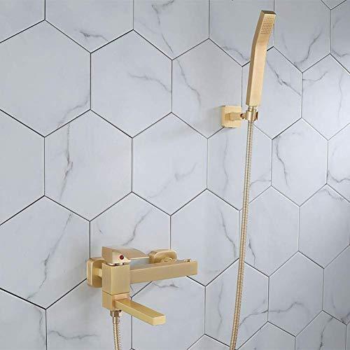 Zixin Badewanne Dusche Set Wand befestigter gebürstet Gold Badewanne Wasserhahn, Bad Kalt- und Warm Bad und Dusche Mischbatterien Messing