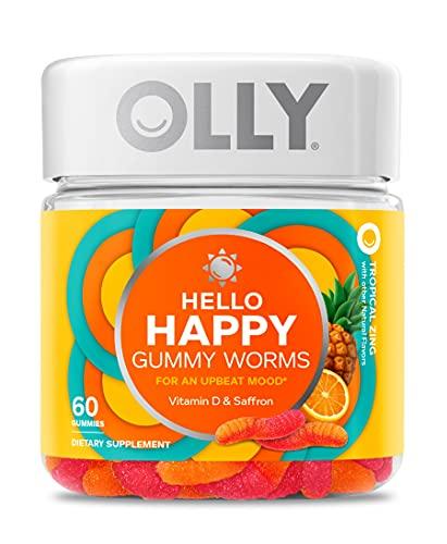 OLLY Hello Happy Gummy Worms, Mood Balance...