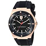 Ferrari Aspire, Quartz Rose Gold Plated and Silicone Strap Casual Watch, Black, Men, 830553