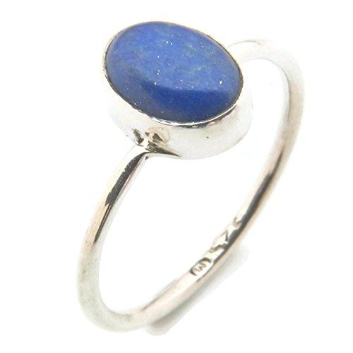 Ring Silber 925 Sterlingsilber Lapis Lazuli blau Stein (Nr: MRI 100), Ringgröße:52 mm/Ø 16.6 mm