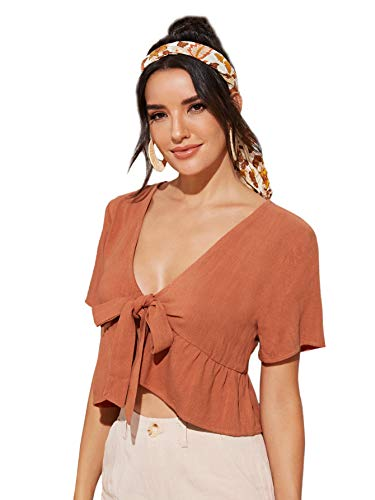SweatyRocks Women's Short Sleeve Deep V Neck Self Tie Front Crop Top Blouse Orange M