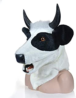 WNGCAR AU Yellow Cow mask Realistic Animal Moving mask Animal Carnival mask (Color : Black)